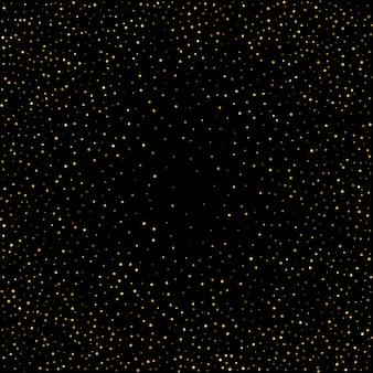 Kleine konfettis des goldenen tupfens auf schwarzem hintergrund