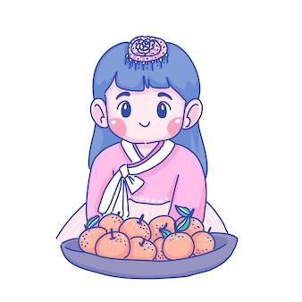 Kleine koreanische mädchenkarikaturillustration. charakter-design
