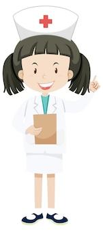 Kleine krankenschwester in einheitlicher zeichentrickfigur