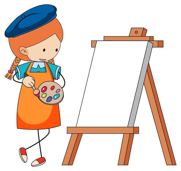 Kleine künstler-cartoon-figur mit leerem brett isoliert