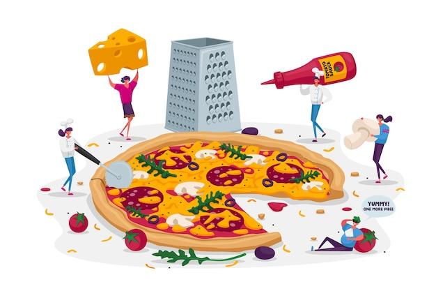 Kleine leute, die riesige pizza essen