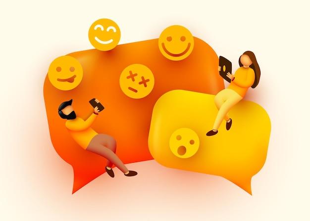 Kleine leute, die um sprechblasen und emoji-zeichen herumfliegen