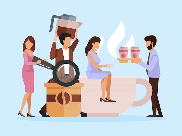 Kleine leute mit kaffeetassen. kaffeepause bei der arbeit. geschäftsmänner, die auf großen bechern mit cappuccino sitzen, heiße getränke trinken und genießen