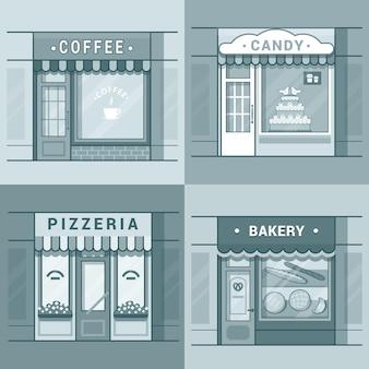 Kleine lokale geschäft schaufenster schaufenster schaufenster cafe kaffee bäckerei pizza pizzeria süßigkeiten süßwaren set. flacher stil mit linearem strichumriss