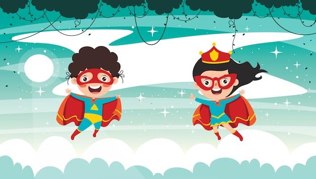 Kleine lustige cartoon-superhelden posieren