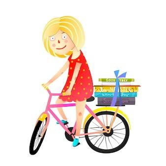 Kleine mädchen bücher und fahrrad kinder cartoon Premium Vektoren