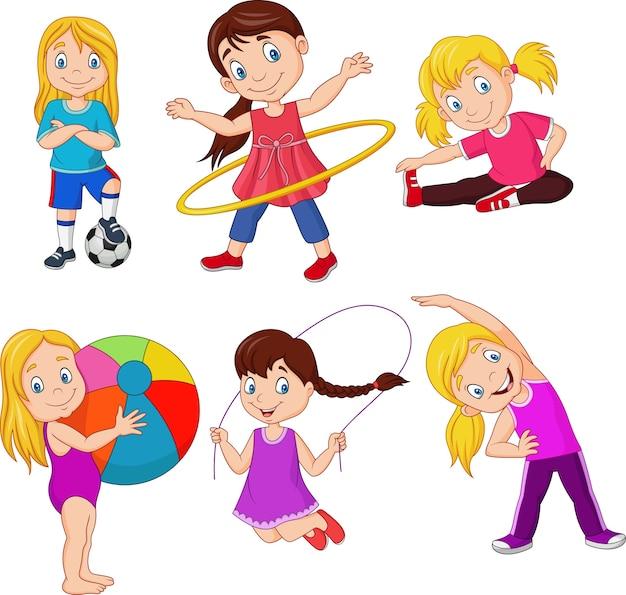 Kleine mädchen der karikatur mit verschiedenen hobbys