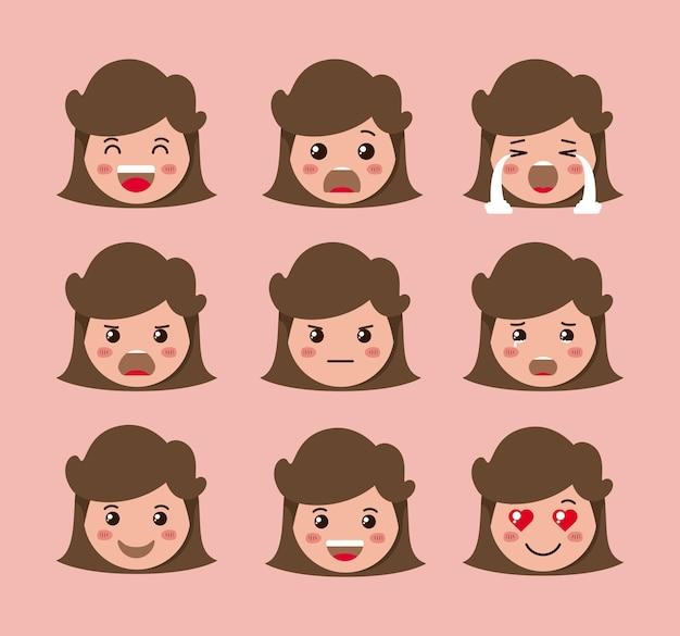 Kleine mädchen emoticon set kawaii zeichen