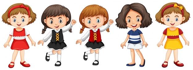 Kleine mädchen in verschiedenen kostümen