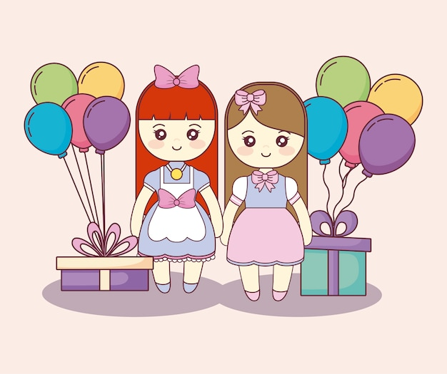 Kleine mädchen mit geschenkboxen und ballonhelium