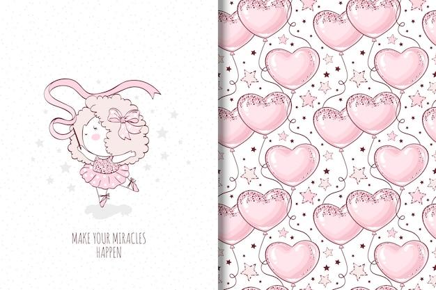 Kleine mädchen tanzende illustration und nahtloses muster mit ballon
