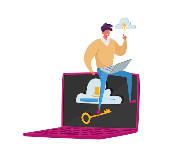 Kleine männliche figur, die auf einem riesigen laptop mit wolke und schlüssel auf dem bildschirm sitzt. virtueller speicher, computertechnologiekonzept