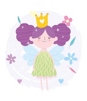 Kleine märchenprinzessin brötchenhaar mit kronen- und blumenmärchenkarikatur