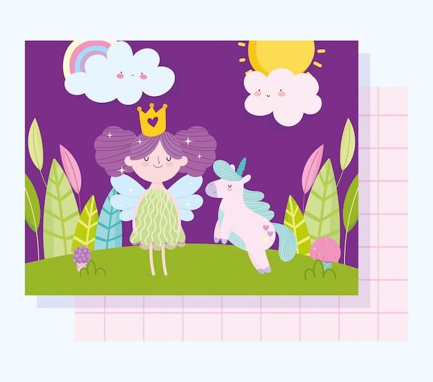 Kleine märchenprinzessin mit einhornmärchenkarikaturwolkenwald