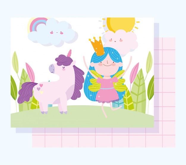 Kleine märchenprinzessin mit entzückender magischer einhorn-märchenkarikatur