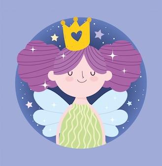 Kleine märchenprinzessin mit flügeln und goldener kronenmärchenkarikatur