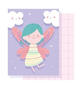 Kleine märchenprinzessin mit flügeln und wolken entzückender magischer märchenkarikatur