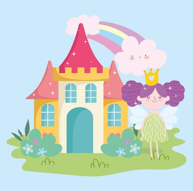 Kleine märchenprinzessin mit flügelschloss-regenbogenwolken-gartenmärchenkarikatur