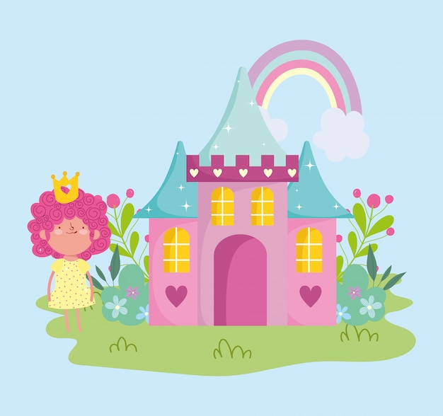 Kleine märchenprinzessin mit kronenschloss-regenbogenblumen-märchenkarikatur