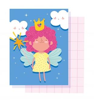Kleine märchenprinzessin mit kronenzauberstab und flügelmärchenkarikatur