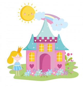 Kleine märchenprinzessin mit schlosskronenblumenregenbogenmärchenkarikatur