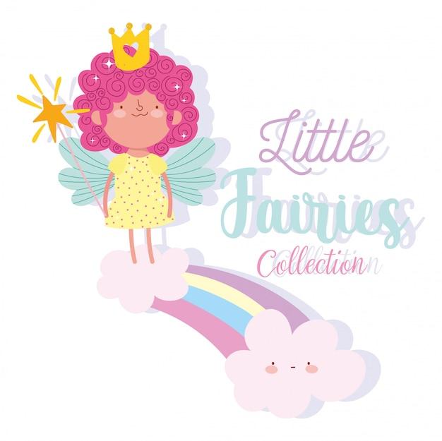 Kleine märchenprinzessin mit zauberstab auf regenbogen- und wolkenmärchenkarikatur
