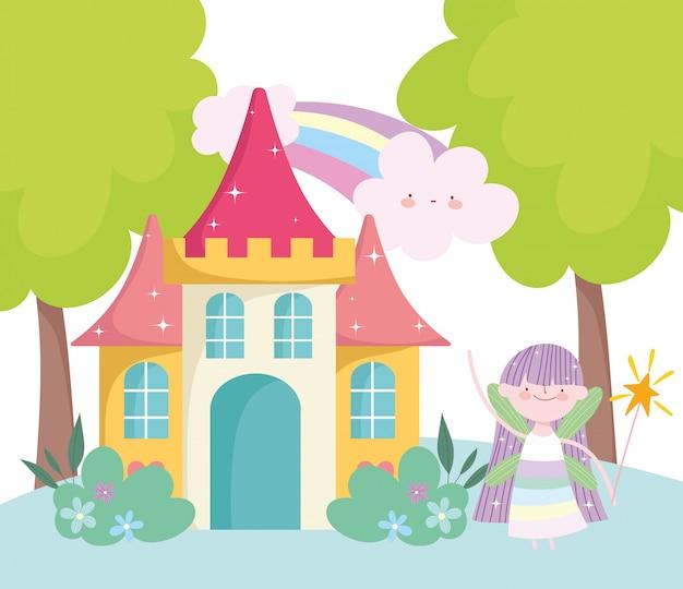Kleine märchenprinzessin mit zauberstabschloss und regenbogenmärchenkarikatur