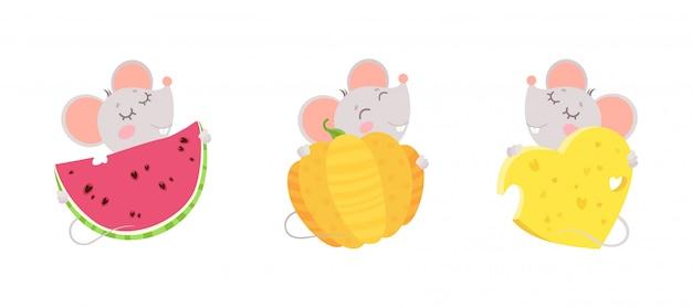 Kleine mäuse umarmen käseherz, wassermelone und kürbis. design von niedlichen comicfiguren mit engen augen.