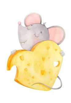 Kleine maus umarmt käseherz nettes aquarelltier