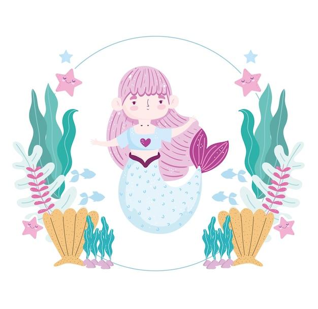 Kleine meerjungfrau charakter unter wasser mit meerestieren illustration
