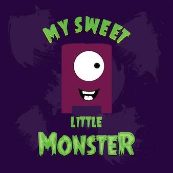 Kleine monster auf lila hintergrund