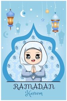 Kleine muslimische mädchen ramadan kareem blaue hintergrundkarikaturillustration