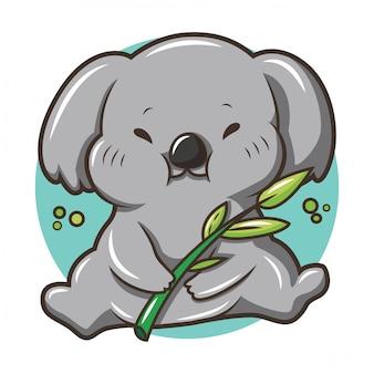 Kleine niedliche coala-karikatur, tierkarikatur.