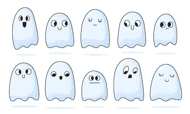 Kleine niedliche geister-sammlung der karikatur. halloween gruselige gespenstische monster.