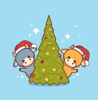 Kleine ochsen in weihnachtsmützen in der nähe von weihnachtsbaum glückliches chinesisches neues jahr 2021 grußkarte niedliche kühe maskottchen zeichentrickfiguren in voller länge vektor-illustration