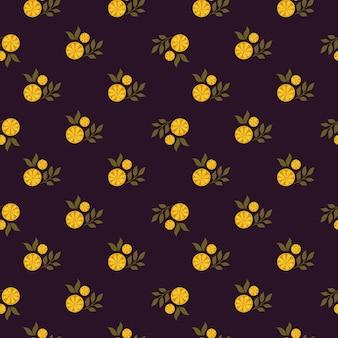 Kleine orangefarbene zitronenscheiben elemente nahtlose doodle-muster. dunkelbrauner hintergrund. einfacher stil. abbildung auf lager. vektordesign für textilien, stoffe, geschenkpapier, tapeten.