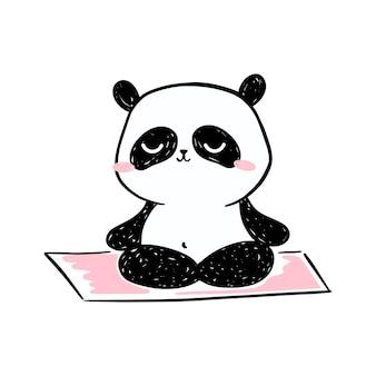Kleine panda illustration. netter handgezeichneter panda charakter, der auf yogamatte meditiert.
