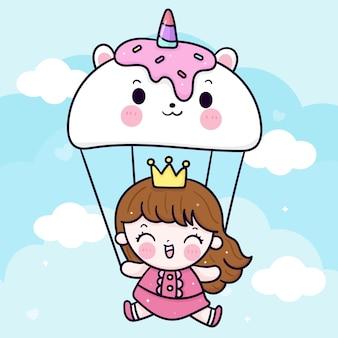 Kleine prinzessin glücklich mit süßem einhornballon auf himmel kawaii tier