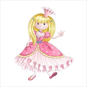 Kleine prinzessin in einem rosa kleid