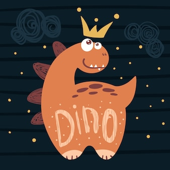 Kleine prinzessin, niedlicher dino - lustige illustration.