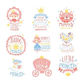 Kleine prinzessin satz drucke für säuglingsmädchen zimmer oder kleidung design-vorlagen in rosa und blau farbe