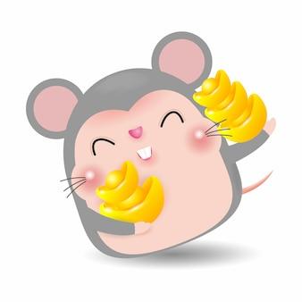 Kleine ratte mit dem halten des chinesischen goldes, guten rutsch ins neue jahr 2020-jährig vom rattentierkreis, karikaturvektorillustration lokalisiert