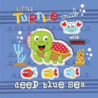 Kleine schildkröte und freunde