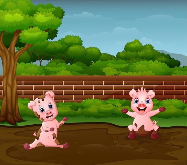 Kleine schweine, die schlamm in der schmutzigen pfütze spielen