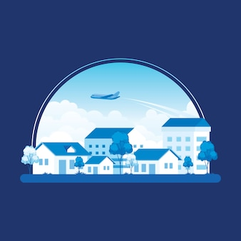 Kleine stadt mit einem flugzeug über blauem himmel, häusern und bäumen