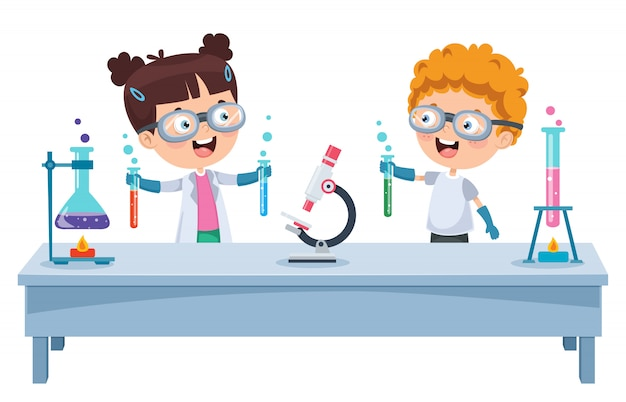 Kleine studenten, die chemisches experiment tun