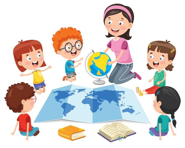 Kleine studenten, die geographie studieren