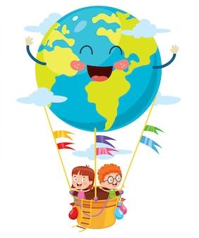 Kleine studenten, die mit planeten-erdballon fliegen
