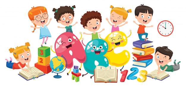 Kleine studierende und lesende studenten
