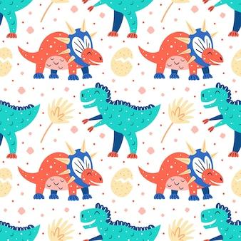 Kleine süße dinosaurier und palmblätter. flaches cartoon buntes handgezeichnetes nahtloses muster